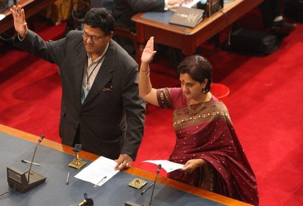 Mr and Mrs Rajbansi - Taking oath of office in KZN Legislature - 2009
