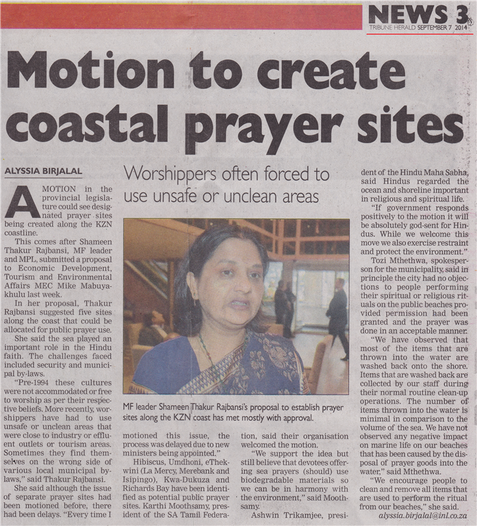 Coastal Worship Sites - Tribune Herald 7 September 2014 (Medium)