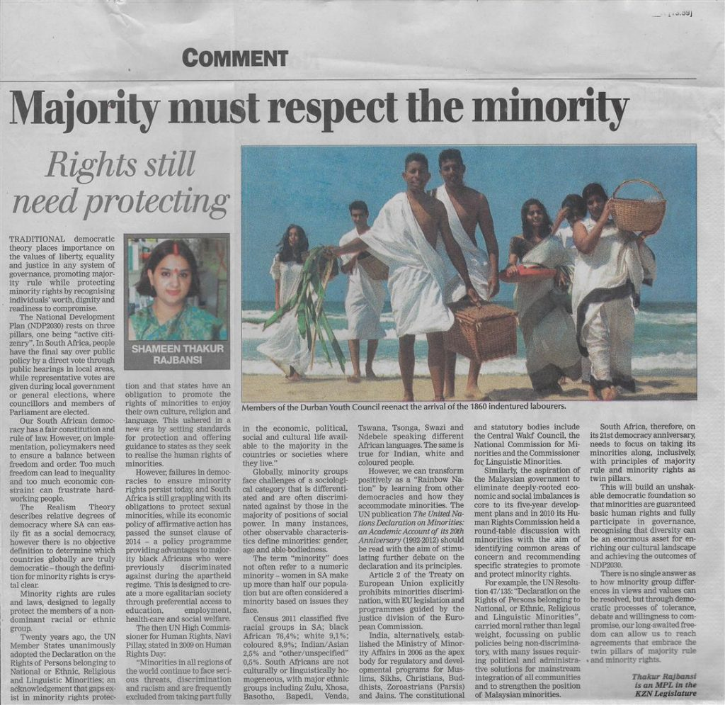 Post Article Minorities - A Global Reality by Shameen Thakur-Rajbansi (Large)