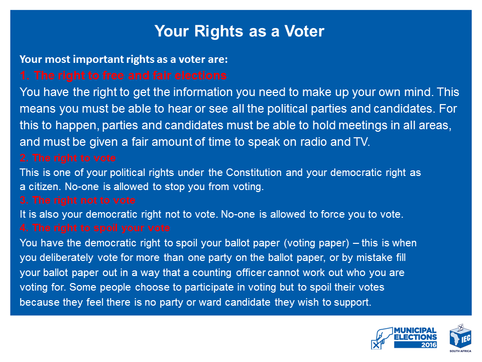 YOUR RIGHTS AS A VOTER 1