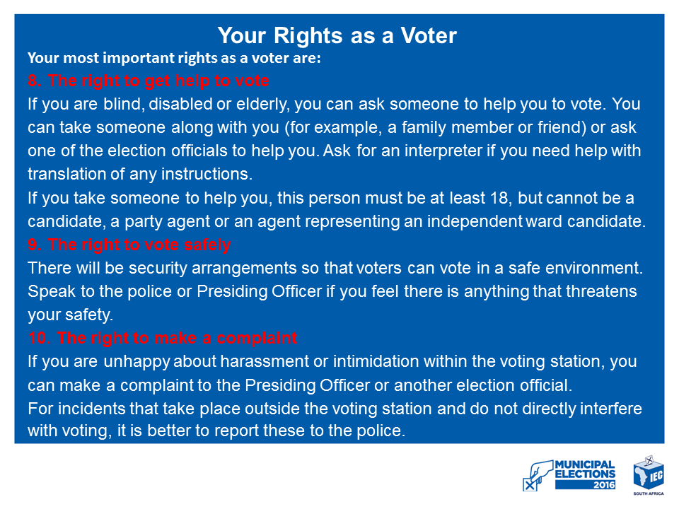 YOUR RIGHTS AS A VOTER 3