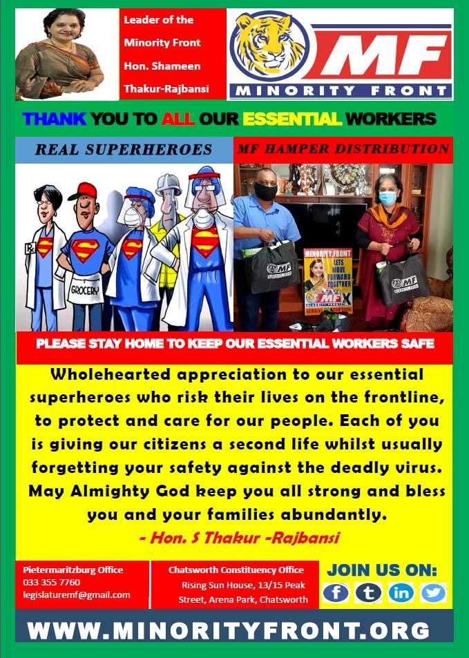 MF Leader Applauds Essential Workers