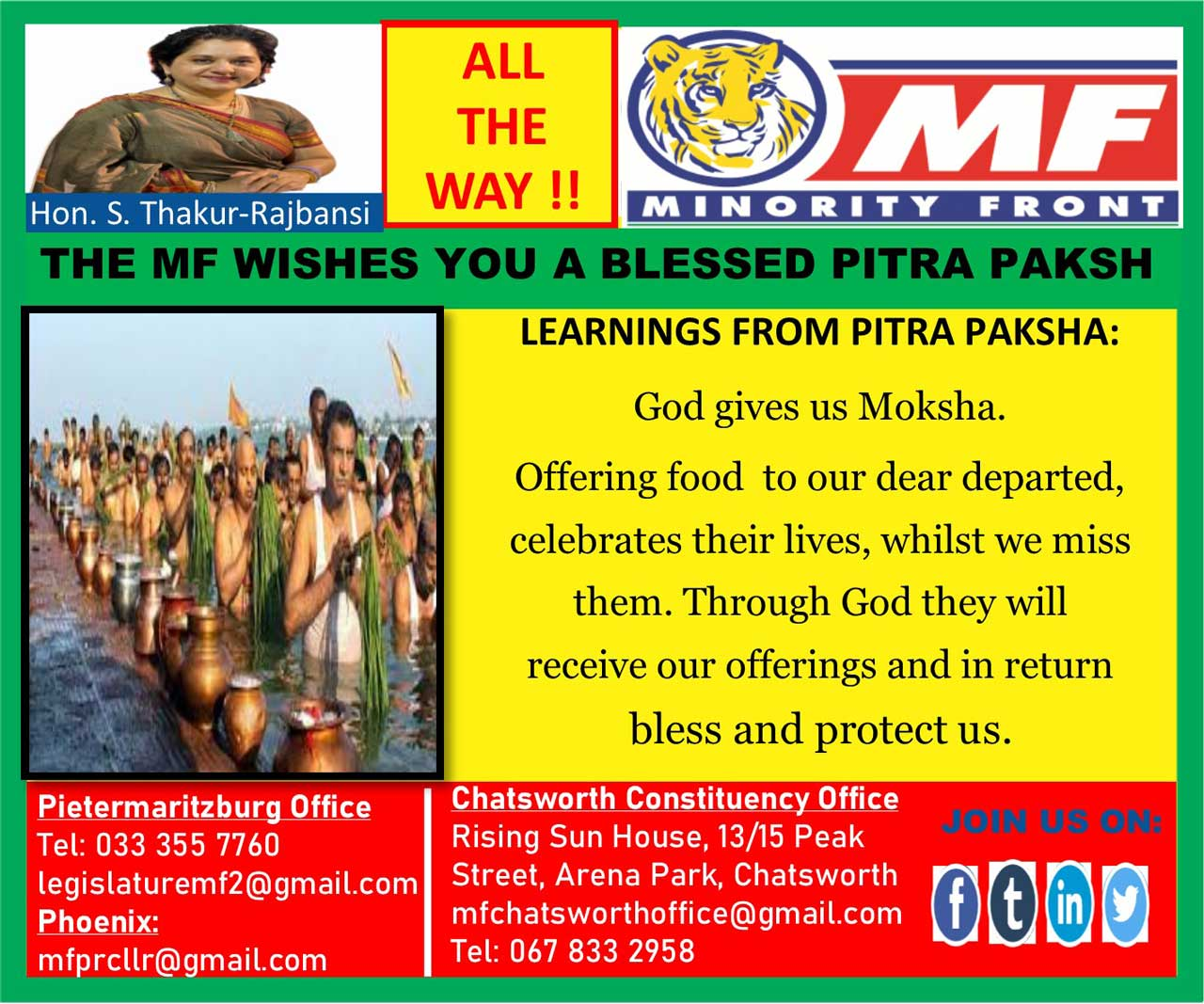 The Minority Front Wishes You a Blessed Pitar Paksh