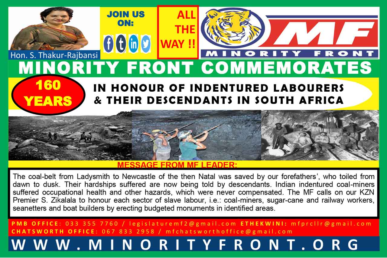 The Minority Front Commemorates The Indentured Labourers