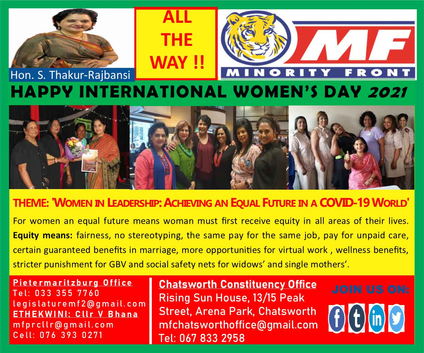 The Minority Front Wishes All Ladies a Happy International Women's Day 2021