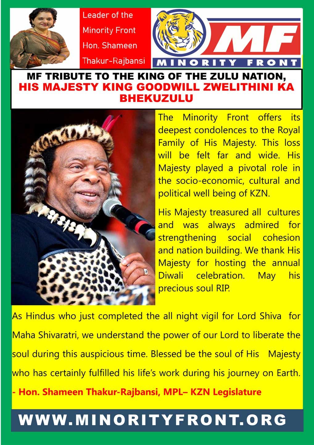 MF Tribute to King Goodwill Zwelithini