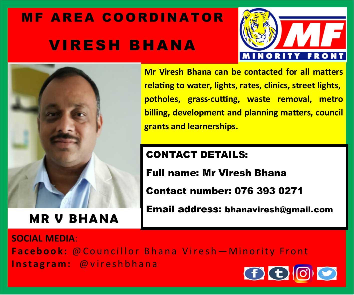 MF Area Coordinator Viresh Bhana