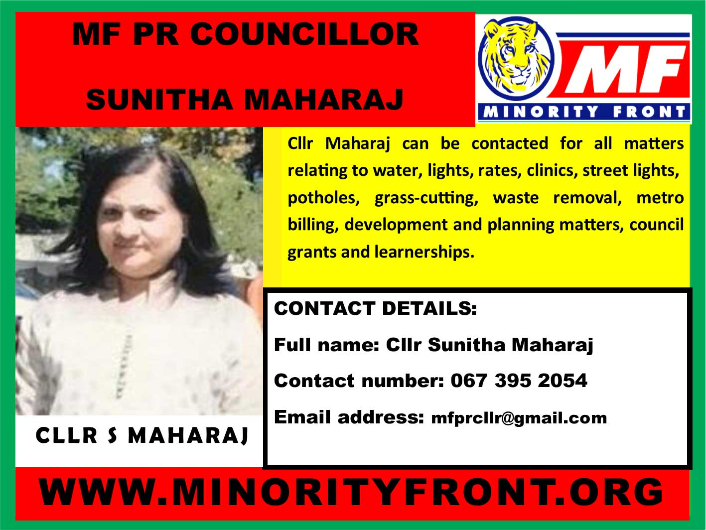 MF PR Councillor Sunitha Maharaj
